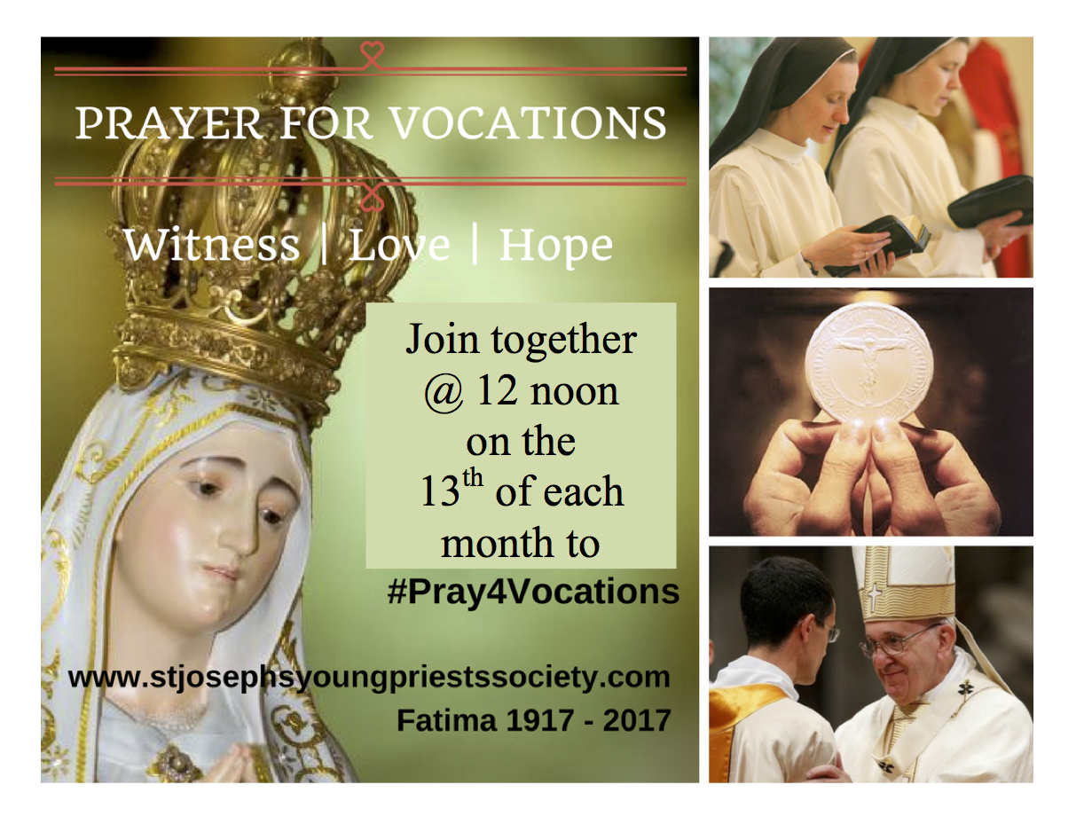 #Pray4Vocations - Irish Bishops' Vocations Council - 12 noon - 13th of each month...