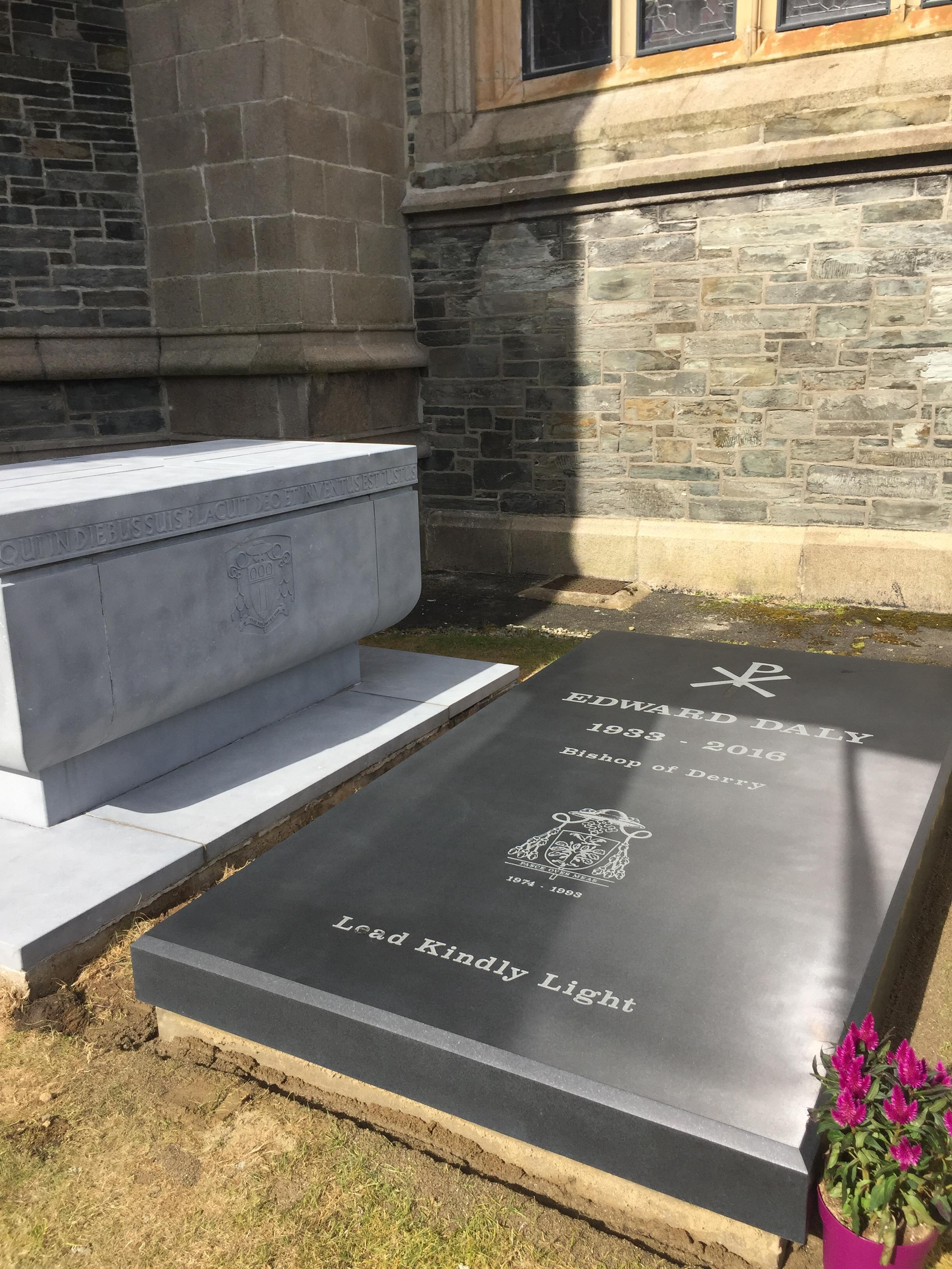 bishop daly s gravestone in place as 1st anniversary approaches