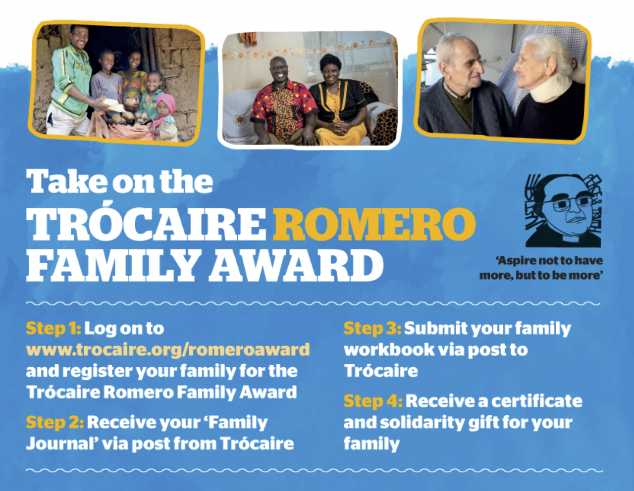 Families can take on the Trócaire Romero Award as they prepare for WMOF2018