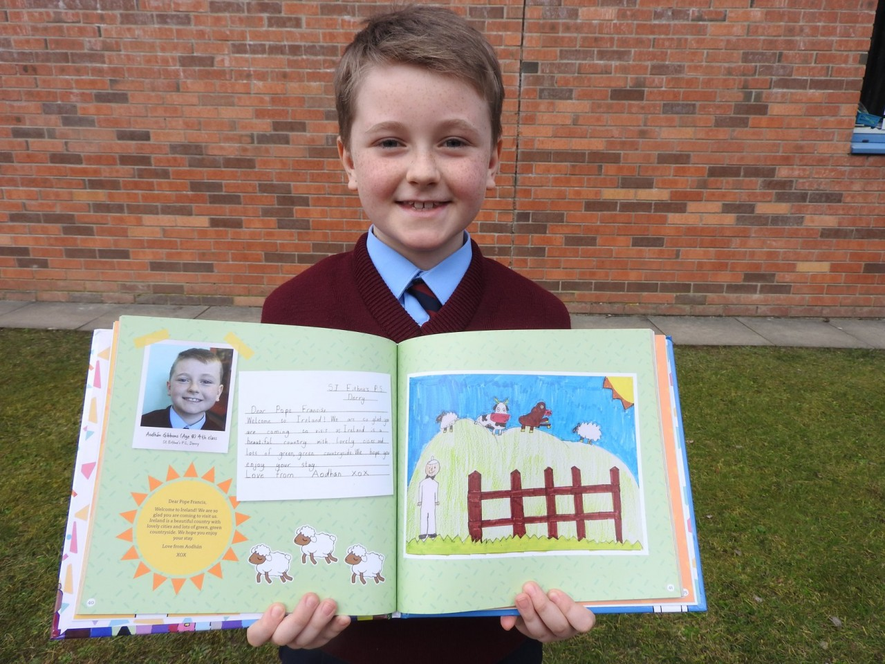 Derry Pupil Aodhan's Letter of Welcome chosen for 'Fáilte Pope Francis' Book