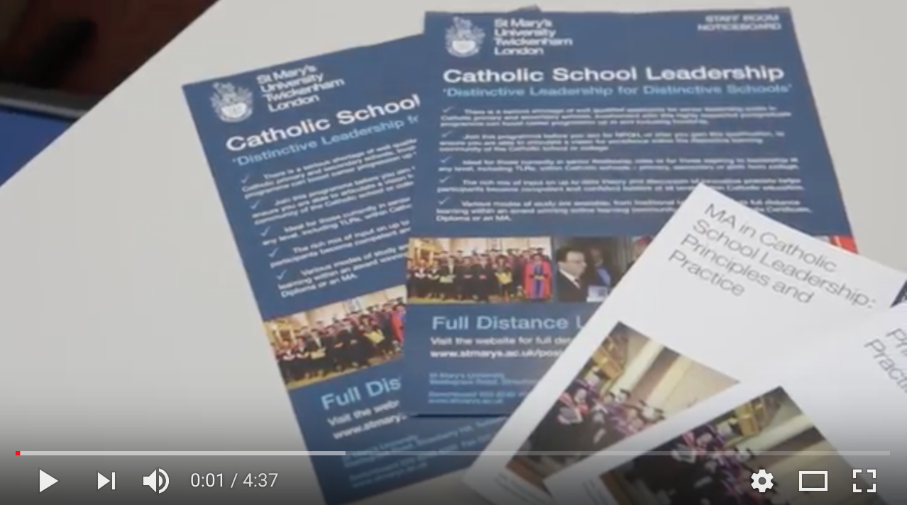 MA in Catholic School Leadership beginning Autumn 2018 - Catechetical Centre