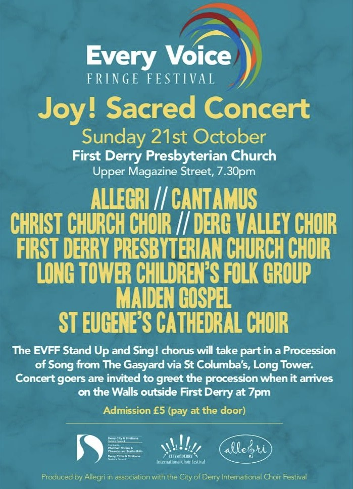 'Joy! Sacred Concert' - An evening of sacred music from local community and church choirs - Sunday 21st October 2018