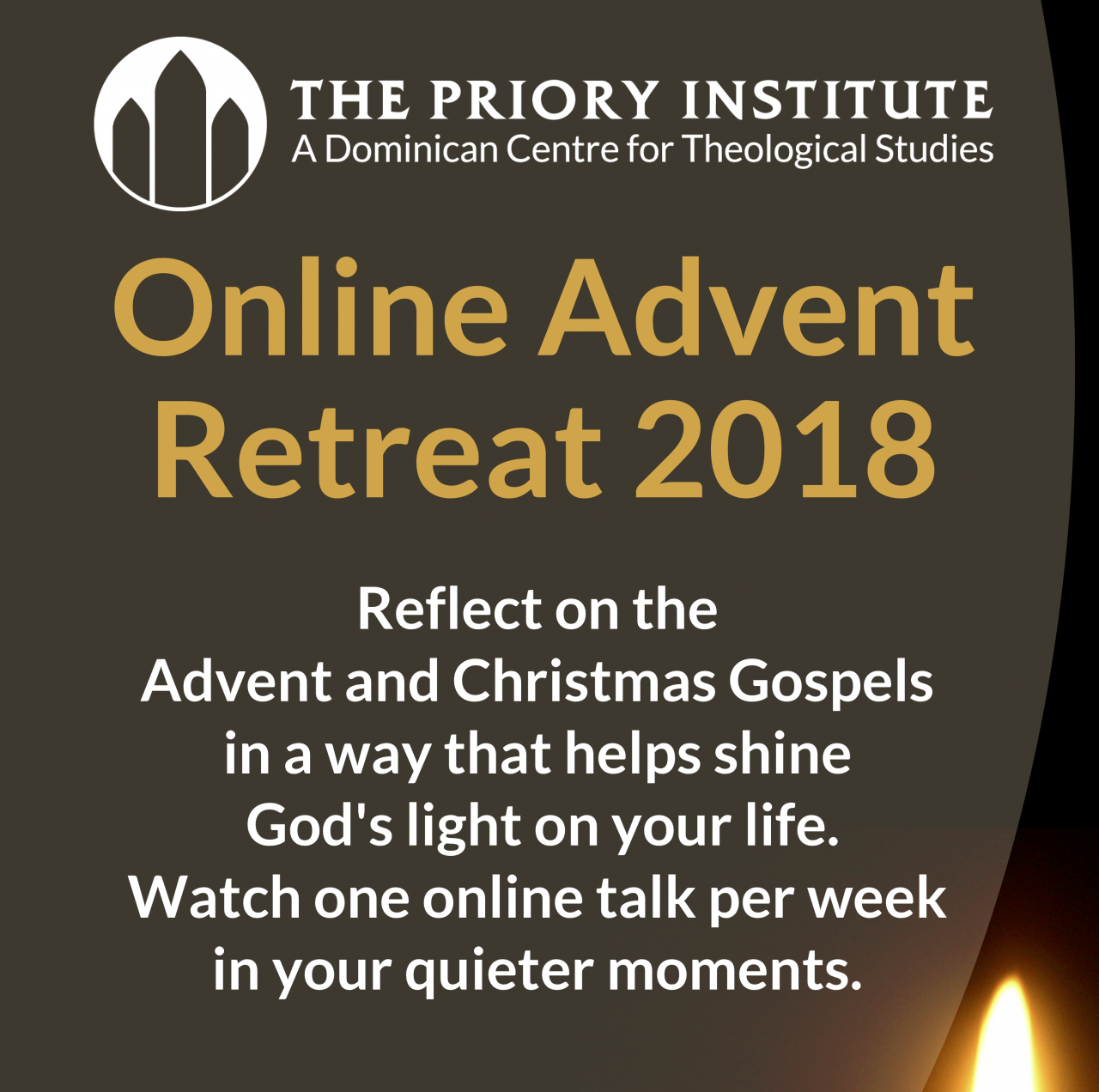 Online Advent Retreat hosted by the Priory Institute, starts Sunday 2nd December 2018