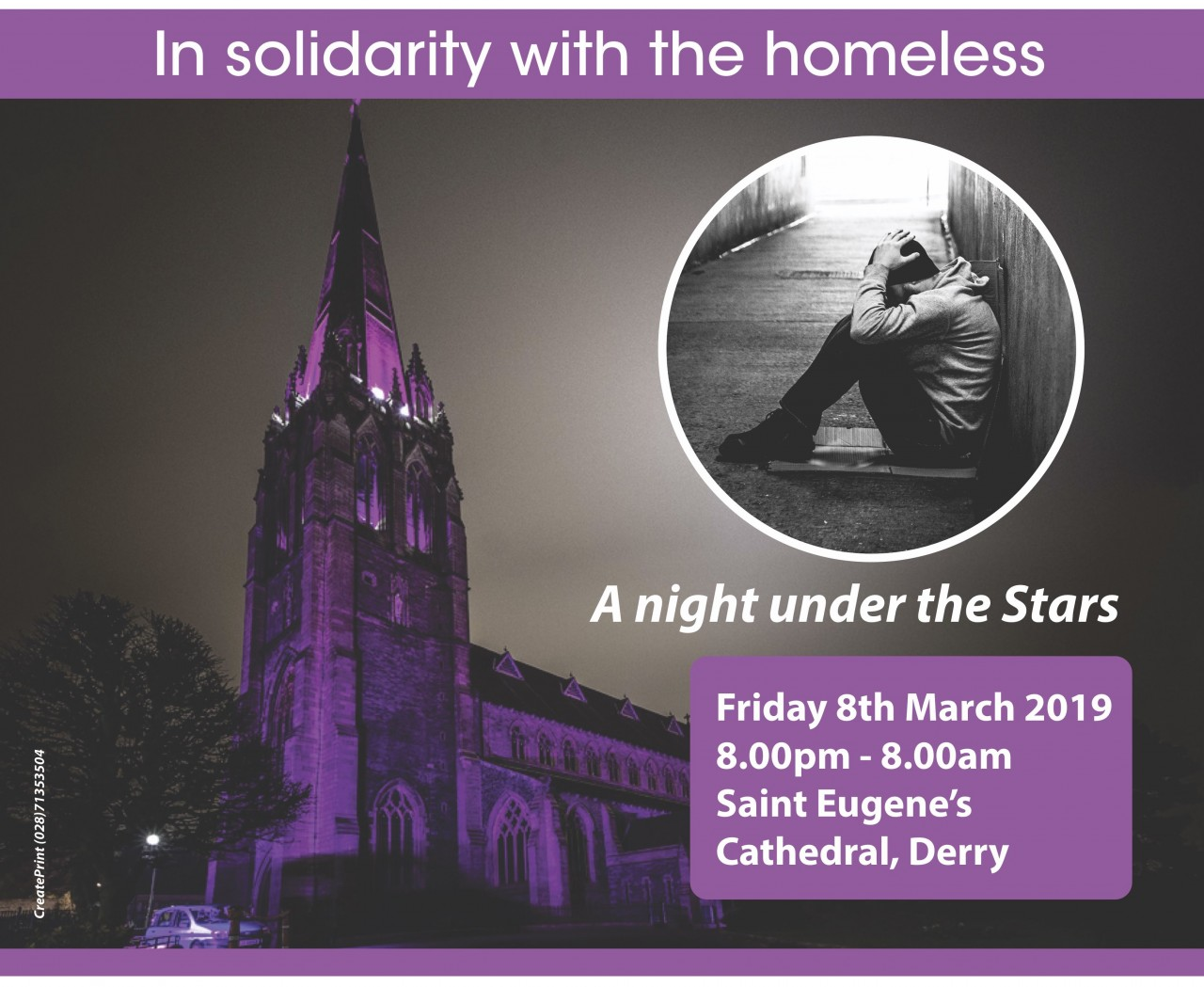Sleep Out - Stay Awake Event - St Eugene's Cathedral, Derry - 8th March 2019